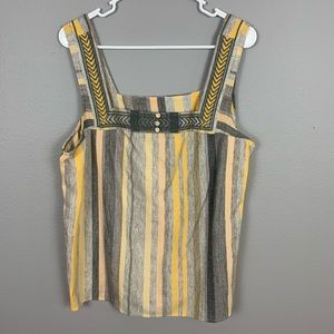 Lucky Brand Vertical Striped Boho Tank Top